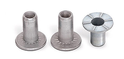 Blind rivet nuts with different under- and over-head serrations